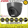 Hikvision 5MP 2.8mm Fixed Lens ColorVu PoC Grey Turret CCTV Camera, 20m White Light Distance, IP67 Weatherproof, 130dB WDR, 24/7 Full Color Imaging - DS-2CE72HFT-E/GREY