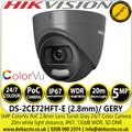 Hikvision DS-2CE72HFT-E/GREY 5MP 2.8mm Fixed Lens ColorVu PoC Grey Turret CCTV Camera, 20m White Light Distance, IP67 Weatherproof, 130dB WDR, 24/7 Full Color Imaging