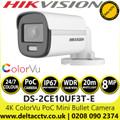 Hikvision 4K/8MP ColorVu PoC 2.8mm Fixed Lens Mini Bullet CCTV Camera with 20m White light distance - DS-2CE10UF3T-E