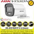 Hikvision DS-2CE10UF3T-E  4K/8MP ColorVu PoC 2.8mm Fixed Lens Mini Bullet CCTV Camera with 20m White light distance