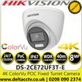 Hikvision 4K 8MP ColorVu PoC 2.8mm Fixed Lens 24/7 color imaging  Outdoor Turret CCTV Camera - DS-2CE72UF3T-E (2.8mm)