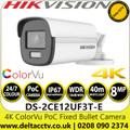 Hikvision 4K 8MP ColorVu PoC 2.8mm Fixed Lens Outdoor/Indoor Bullet CCTV Camera - DS-2CE12UF3T-E (2.8mm)