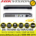 Hikvision 16 Channel 16 PoE 2 SATA 12MP 4K NVR, Plug & Play with 16 Power-over-Ethernet (PoE) interfaces - DS-7616NI-I2/16P/CVBS
