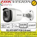 2MP ColorVu Fixed Mini Bullet TVI Camera DS-2CE10DFT-F (2.8mm)