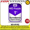 WD 1TB Purple Surveillance Internal Hard Drive For CCTV Camera DVRS, NVRS, DESKTOP PC & Hikvision DS-8108HUHI-K8  8-ch 5 MP 2U H.265 8 channel DVR