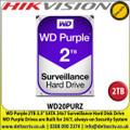 WD Purple 2TB Surveillance Systems Internal Hard Disk For CCTV Camera DVRS, NVRS, DESKTOP PC & Hikvision DS-7204HQHI-K1/B 4-ch 1080p 1U H.265 Balun DVR