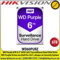 WD Purple 6TB Surveillance Systems Internal Hard Disk For CCTV Camera DVRS, NVRS, DESKTOP PC & Hikvision  DS-7204HQHI-K1/B 4-ch 1080p 1U H.265 Balun DVR