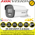 Hikvision 4K ColorVu PoC Outdoor Fixed Lens Bullet Camera with 40m White light distance - DS-2CE12UF3T-E (2.8mm)