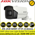 Hikvision DS-2CE16H8T-IT1F 5MP Ultra Low Light 3.6mm Fixed Lens 4-in-1 TVI/AHD/CVI/CVBS Outdoor Bullet Camera with 30m IR Range