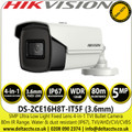 Hikvision 5MP Ultra Low Light 3.6mm Fixed Lens 4-in-1 TVI/AHD/CVI/CVBS Outdoor Bullet Camera with 80m IR Range - DS-2CE16H8T-IT5F