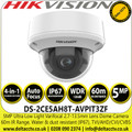 Hikvision 5MP Ultra Low Light 2.7-13.5mm Vandal Motorized Varifocal 4-in-1  TVI/AHD/CVI/CVBS Outdoor Security CCTV Dome Camera with 60m IR Range - DS-2CE5AH8T-AVPIT3ZF