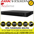 Hikvision 4 Channel 4Ch DVR 5 MP 2 SATA Interface AcuSense Audio via coaxial cable DVR - iDS-7204HUHI-M2/FA