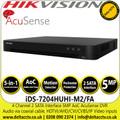 Hikvision iDS-7204HUHI-M2/FA 4 Channel 4Ch DVR 5 MP 2 SATA Interface AcuSense Audio via coaxial cable DVR