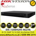 Hikvision 8 Channel 8Ch DVR 5 MP 2 SATA Interface AcuSense Audio via coaxial cable DVR - iDS-7208HUHI-M2/FA