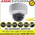 Hikvision DS-2CE59U8T-AVPIT3Z 4K 8MP Ultra-Low Light Vandalproof Auto focus 2.8-12mm Motorized Varifocal Lens Outdoor Dome TVI/CVBS Camera with 60m IR Range