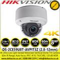 Hikvision 4K 8MP Ultra-Low Light Vandalproof Auto focus 2.8-12mm Motorized Varifocal Lens Outdoor Dome TVI/CVBS Camera with IP67, IK10 Protection. 60m IR Range - DS-2CE59U8T-AVPIT3Z