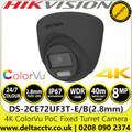 Hikvision 8MP ColorVu PoC Fixed Lens Outdoor Black Turret 4K Camera with 40m White Light Range, 24/7 Color Imaging - DS-2CE72UF3T-E(2.8mm)