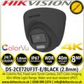 Hikvision DS-2CE72UF3T-E/Black 8MP ColorVu PoC 2.8mm Fixed Lens Outdoor Turret 4K Camera with 40m White Light Range, 24/7 Color Imaging