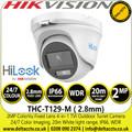 Hikvision 2MP ColorVu 20m white light range outdoor TVI/AHD/CVI/CVBS Turret Camera - THC-T129-M (2.8mm)