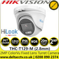 Hikvision THC-T129-M 2MP 2.8mm Fixed Lens 20m white light range 24/7 Color Imaging outdoor TVI/AHD/CVI/CVBS Turret Camera