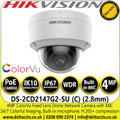 Hikvision 4MP ColorVu 2.8mm Fixed Lens Outdoor Network PoE Dome Camera with Built-in microphone, 24/7 colorful imaging - DS-2CD2147G2-SU(C)
