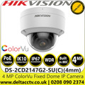 Hikvision DS-2CD2147G2-SU(C) 4MP ColorVu 4mm Fixed Lens Outdoor Network PoE Dome Camera with Built-in microphone, 24/7 colorful imaging