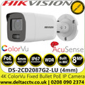 Hikvision DS-2CD2087G2-LU 8MP ColorVu AcuSense Fixed Lens Outdoor 4K Bullet Network PoE Camera with Built in Microphone, 24/7 Colorful imaging, 40m White light range