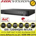 Hikvision 4 Channel 1080p 1U H.265 AcuSense AoC 4Ch DVR - iDS-7204HQHI-M1/FA