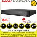 Hikvision 16 Channel AcuSense AoC DVR iDS-7216HQHI-M1/FA 1080p 1U H.265 16Ch DVR