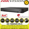 Hikvision  4 Channel 8MP Lite 1 HDD 1U H.265 AcuSense AoC HDTVI/AHD/CVI/CVBS/IP 4Ch DVR - iDS-7204HUHI-M1/S