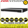 Hikvision 8 Channel 8 MP 8 PoE 2 SATA 4G NVR, Up to 8-ch IP camera input - DS-7608NI-K2/8P/4G