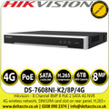Hikvision DS-7608NI-K2/8P/4G 8 Channel 8 MP 8 PoE 2 SATA 4G NVR, Up to 8-ch IP camera input