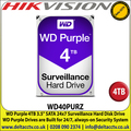 WD Purple 4TB Surveillance Internal Hard Disk For CCTV Camera DVRS, NVRS, DESKTOP PC & Hikvision-DS-7208HQHI-K2/P 8-ch 1080p 1U H.265 POC DVR