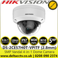 Hikvision 5MP 2.8mm Fixed Lens Outdoor Vandal Analog HD 4-in-1 Dome Camera with Night Vision - 20m IR Range - DS-2CE57H0T-VPITF (2.8mm)