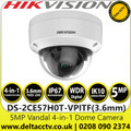 Hikvision 5 MP Fixed Lens Outdoor Vandal Analog HD 4-in-1 Dome Camera with Night Vision - 20m IR Range - DS-2CE57H0T-VPITF (3.6mm)