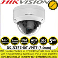 Hikvision 5MP Outdoor Analog HD 4-in-1 Dome Camera with Night Vision - 20m IR Range - IK10 Vandalproof - DS-2CE57H0T-VPITF (3.6mm)