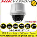 Hikvision 2MP Darkfighter 4-in-1 TVI/AHD/CVI/CVBS Analog Speed Dome Camera with - 25× optical zoom, 16× digital zoom - DS-2AE4225T-D3