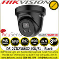 Hikvision 8MP 2.8mm Lens Darkfighter Built-in Two-way Audio Alarm Warning AcuSense Network PoE Turret Camera  - DS-2CD2386G2-ISU/SL/Black