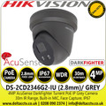 Hikvision DS-2CD2346G2-IU/GREY 4MP 2.8mm Fixed Lens AcuSense Darkfighter Built-in MIC Outdoor Network PoE Turret Camera