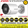 Hikvision 6MP AcuSense 2.8mm lens Darkfighter Mini Bullet Network PoE Camera with IR & built in mic - DS-2CD2066G2-IU(2.8MM)(C)