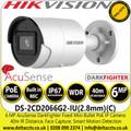 Hikvision DS-2CD2066G2-IU(2.8MM)(C) 6MP AcuSense 2.8mm lens Darkfighter Mini Bullet IP PoE Camera with IR & built in mic