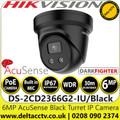 Hikvision 6MP 2.8mm Lens AcuSense DarkFighter Black Turret Network IP Camera - Built-in Microphone - DS-2CD2366G2-IU/BLACK (C)