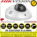 Hiikvision 2MP 2.8mm Lens Mini Dome Network PoE Camera with IR -  AcuSense - Darkfighter - Built in Microphone - DS-2CD2526G2-IS (2.8mm)