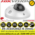 Hiikvision DS-2CD2526G2-IS 2MP AcuSense Darkfighter 4mm Lens Mini Dome Network PoE Camera with IR & Built in Microphone