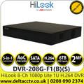 HiLook 8-Channel 1080p Lite AoC 1U H.264 8 Channel DVR - DVR-208G-F1(B)(S)