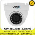4MP Full HD Outdoor IR CVI Eyeball Camera - Fixed Lens - 30 m IR Range - OPA4ED28IR (2.8mm)