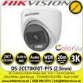 Hikvision 3K ColorVu Indoor Audio AoC Turret Camera - TVI/AHD/CVI/CVBS - 20m IR White Light Range - DS-2CE70KF0T-PFS (2.8mm)