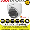 Hikvision DS-2CE70KF0T-PFS (3.6mm) 3K ColorVu Indoor Audio AoC Turret Camera - TVI/AHD/CVI/CVBS - 20m IR White Light Range