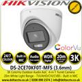 Hikvision 3K ColorVu Outdoor Audio AoC Turret Camera - TVI/AHD/CVI/CVBS - 20m IR White Light Range - DS-2CE70KF0T-MFS (3.6mm)
