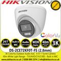 Hikvision 3K ColorVu Outdoor Audio AoC Turret Camera - TVI/AHD/CVI/CVBS - 40m IR White Light Range - DS-2CE72KF0T-FS (2.8mm)